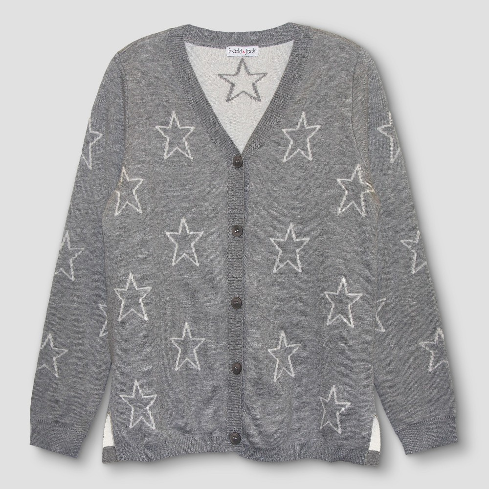 Girls Franki & Jack Star Cardigan - Heather Gray XS(4-5), Size: XS (4-5)