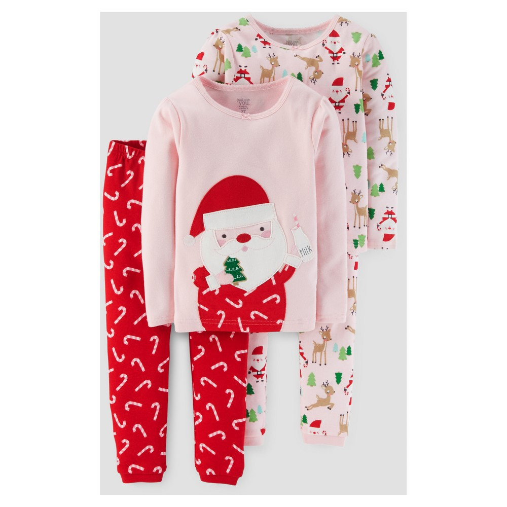 Baby Girls 4pc Long Sleeve Santa Pajama Set - Just One You Made by Carters Pink 12M, Size: 12 Months