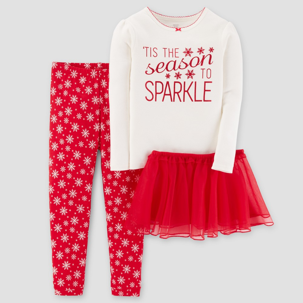 Toddler Girls 4pc Long Sleeve Tutu Sparkle Pajama Set - Just One You Made by Carters White 2T