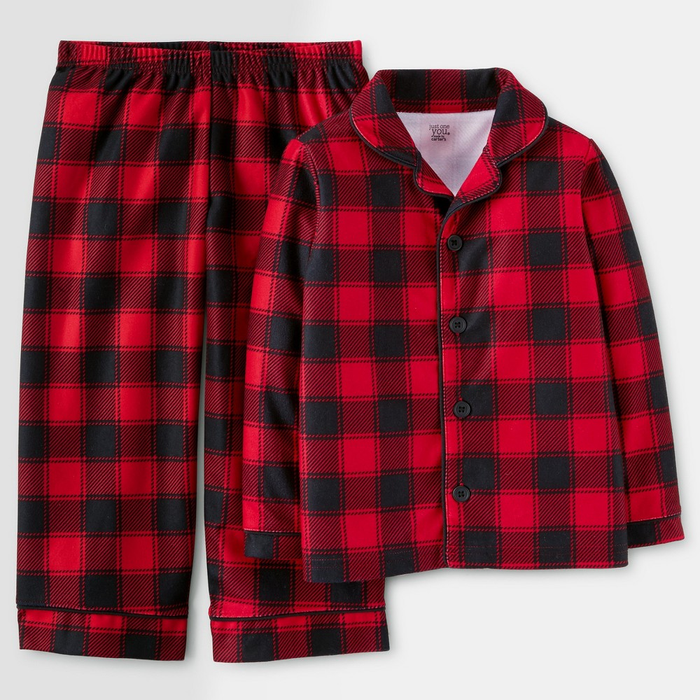 Toddler Boys Buffalo Check Pajama Set - Just One You Made by Carters Red 18M, Size: 18 M