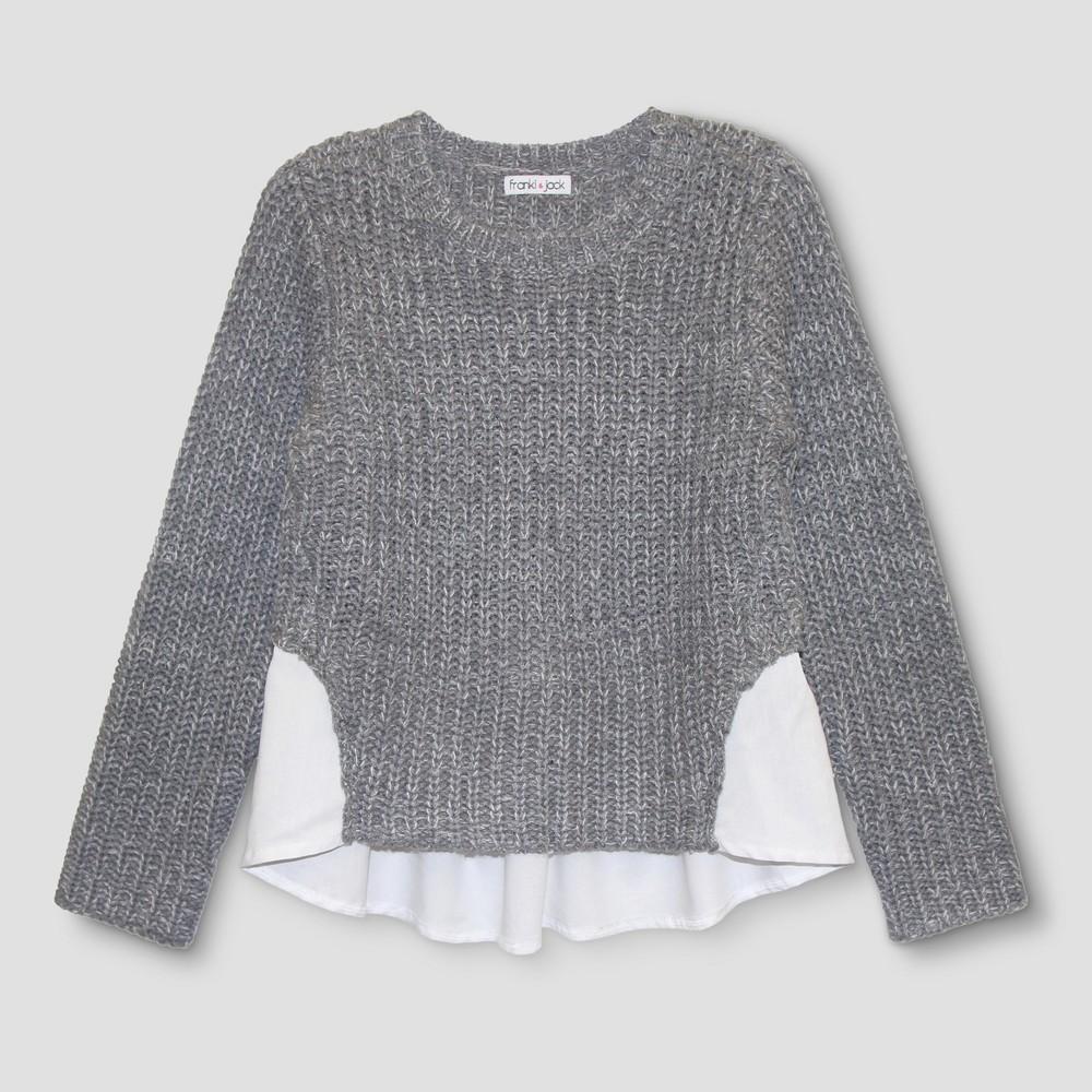 Girls Franki & Jack Woven Black Pullover Sweater - Black Swirl M(7-8), Size: M (7-8)