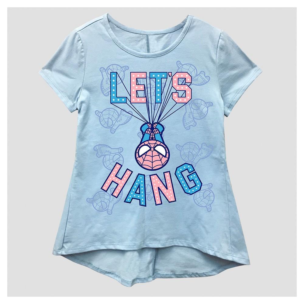 Girls Marvel Spider-Man Short Sleeve T-Shirt - Blue M (7-8), Size: M(7-8)