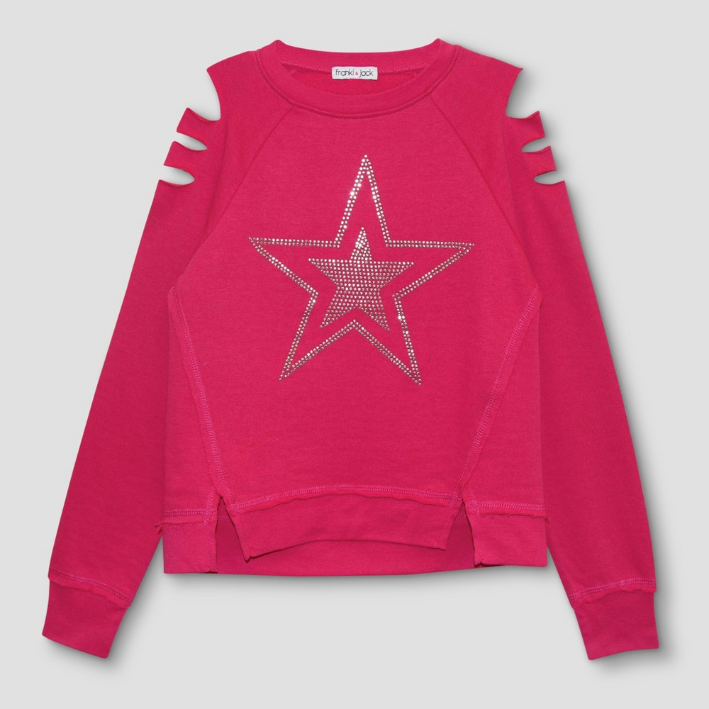 Girls Franki & Jack Cold Shoulder Sweatshirt with Crystal Star - Fun Pink M(7-8), Size: M (7-8)