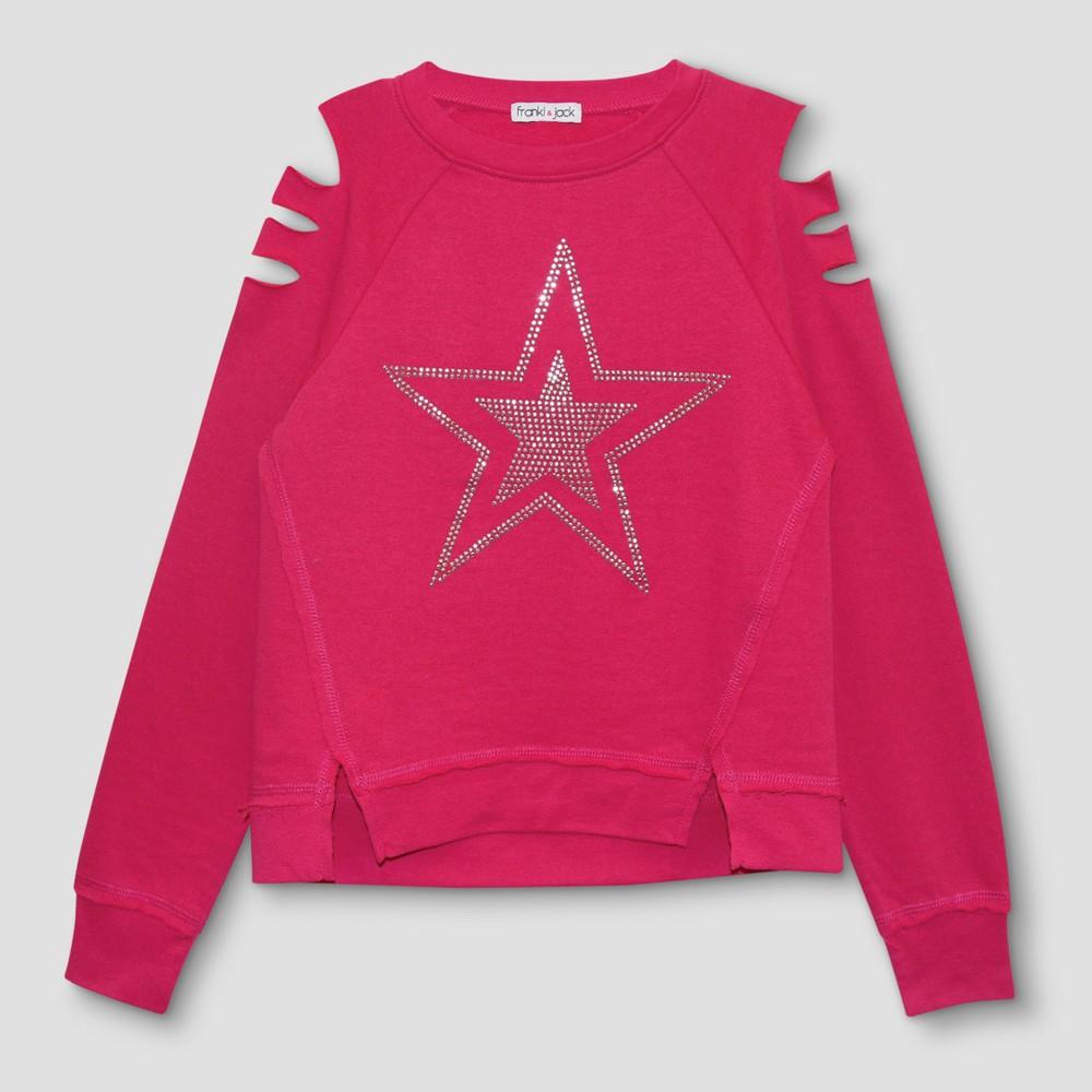 Girls Franki & Jack Cold Shoulder Sweatshirt with Crystal Star - Fun Pink L(10-12)