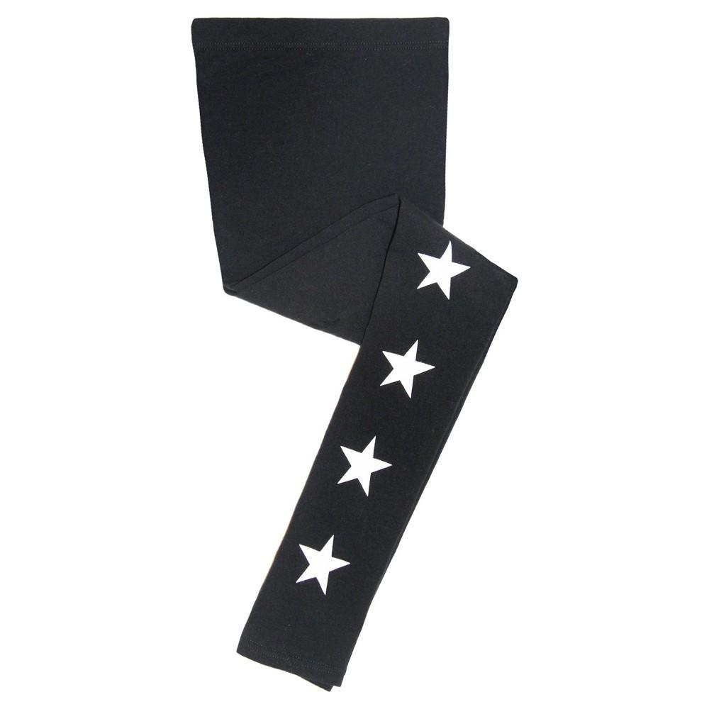 Girls Franki & Jack Star Leggings - Black M(7-8), Size: M (7-8)