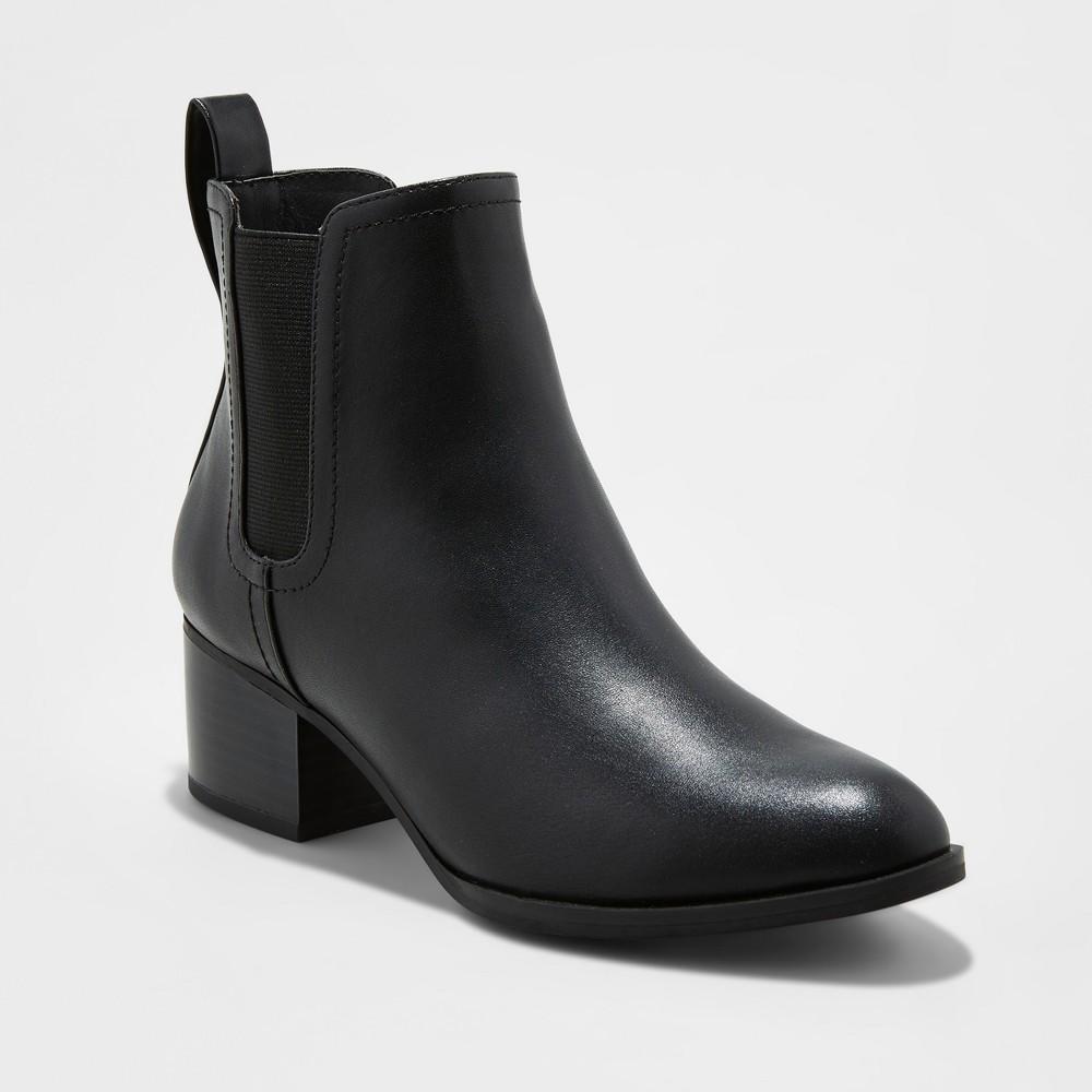 Womens Wide Width Lara Chelsea Booties - A New Day Black 7W, Size: 7 Wide