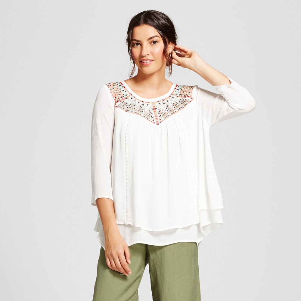 Womens 3/4 Sleeve Embroidered Bib Blouse - JohnPaulRichard - Ivory Combo XL, White