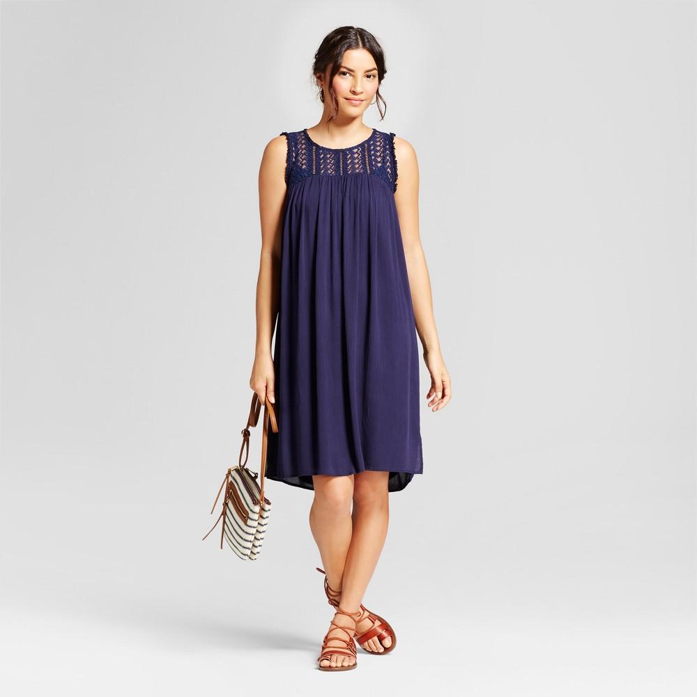 Womens Embroidered Maxi Dress - JohnPaulRichard - Navy M, Blue