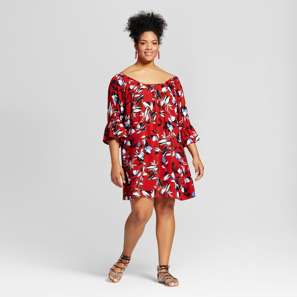 Womens Plus Size Bell-Sleeve Shift Dress - 3Hearts (Juniors) Red 3X
