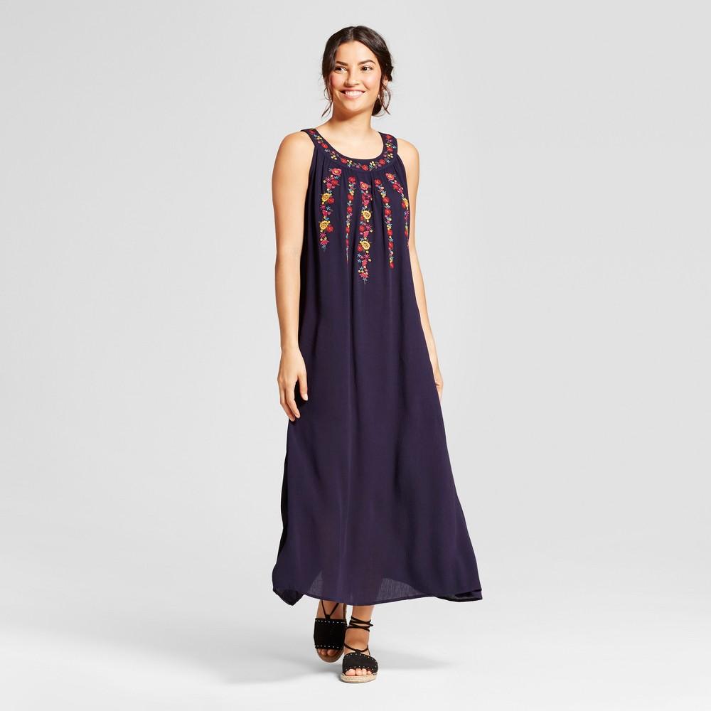 Womens Sleeveless Crochet Detail Dress - JohnPaulRichard - Navy L, Blue