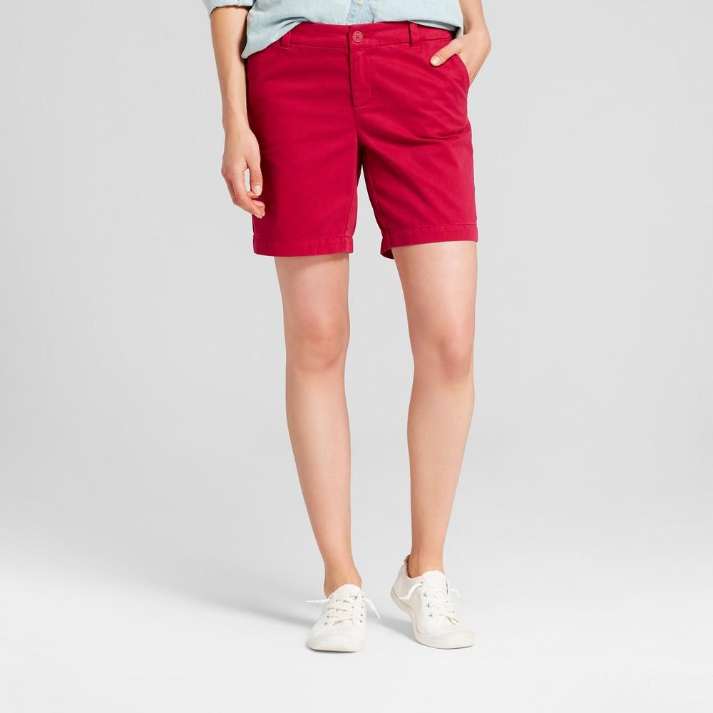 Womens 7 Chino Shorts - Merona Rich Magenta 12