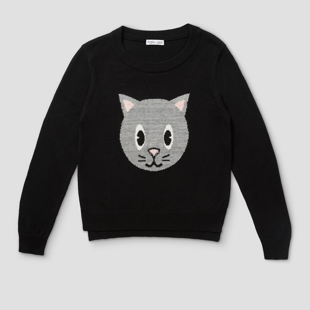 Girls Franki & Jack Cat Pullover Sweater - Black XL(14-16)
