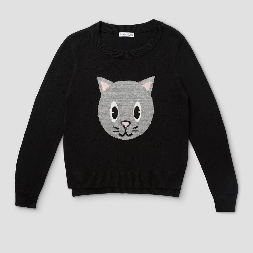 Girls Franki & Jack Cat Pullover Sweater - Black S (6-6X)