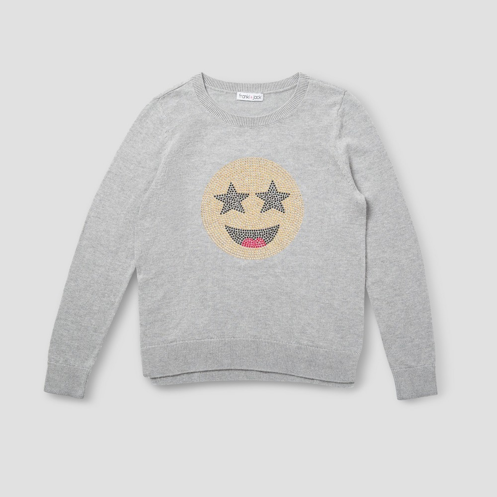 Girls Franki & Jack Emoji Crystal Pullover Sweater - Heather Gray XS (4-5)