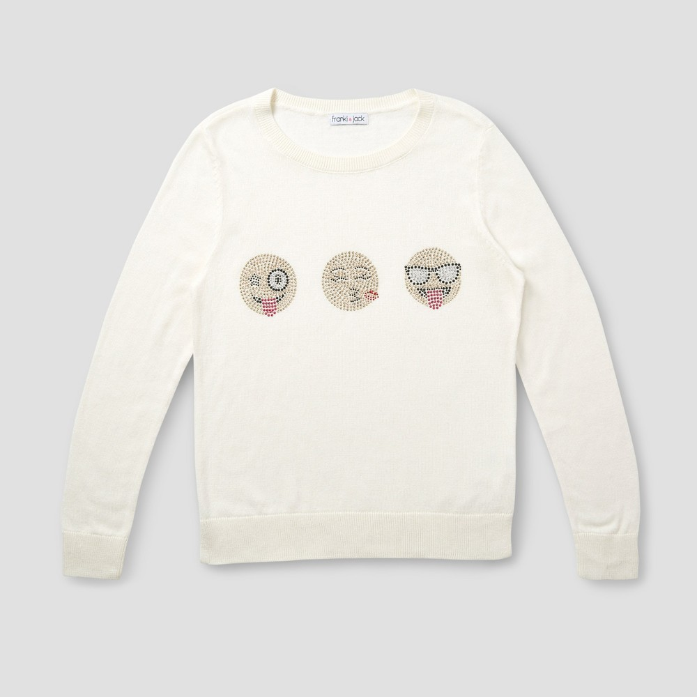 Girls Franki & Jack 3 Emoji Crystal Pullover Sweater - Classic Ivory XS (4-5), White
