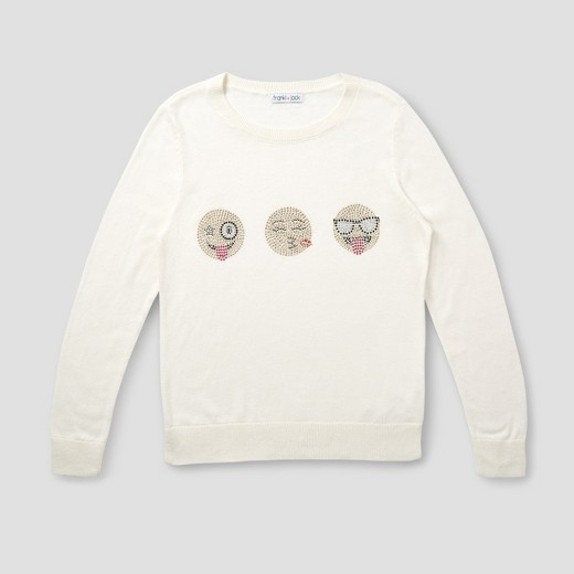 Girls' Franki & Jack 3 Emoji Crystal Pullover Sweater - Classic ...