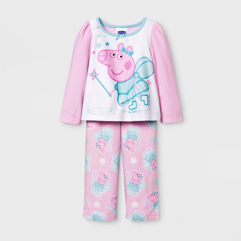 Toddler Girls Peppa Pig Long Sleeve Pajama Set - Pink 2T