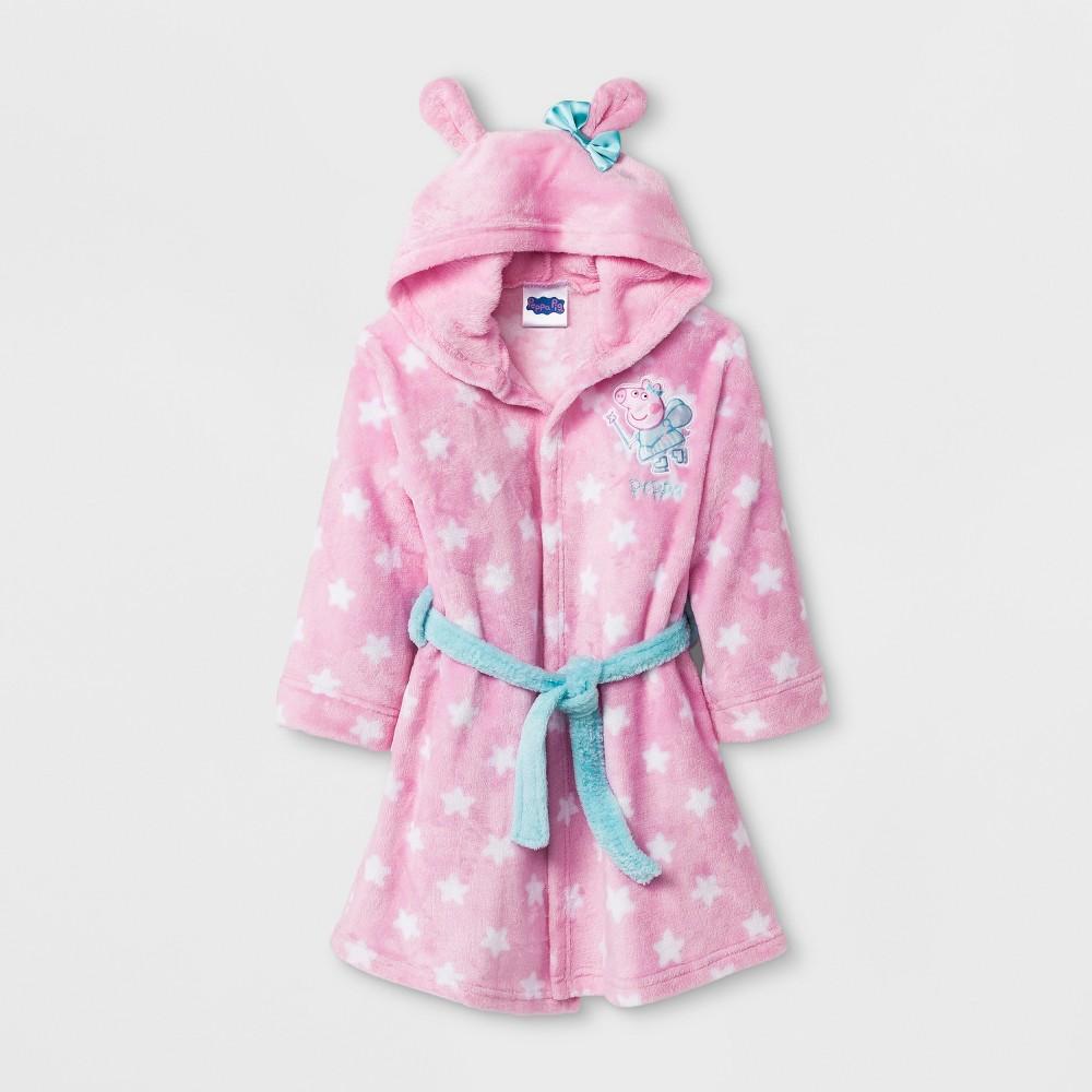 Toddler Girls Peppa Pig Long Sleeve Hooded Robe - Pink 3T