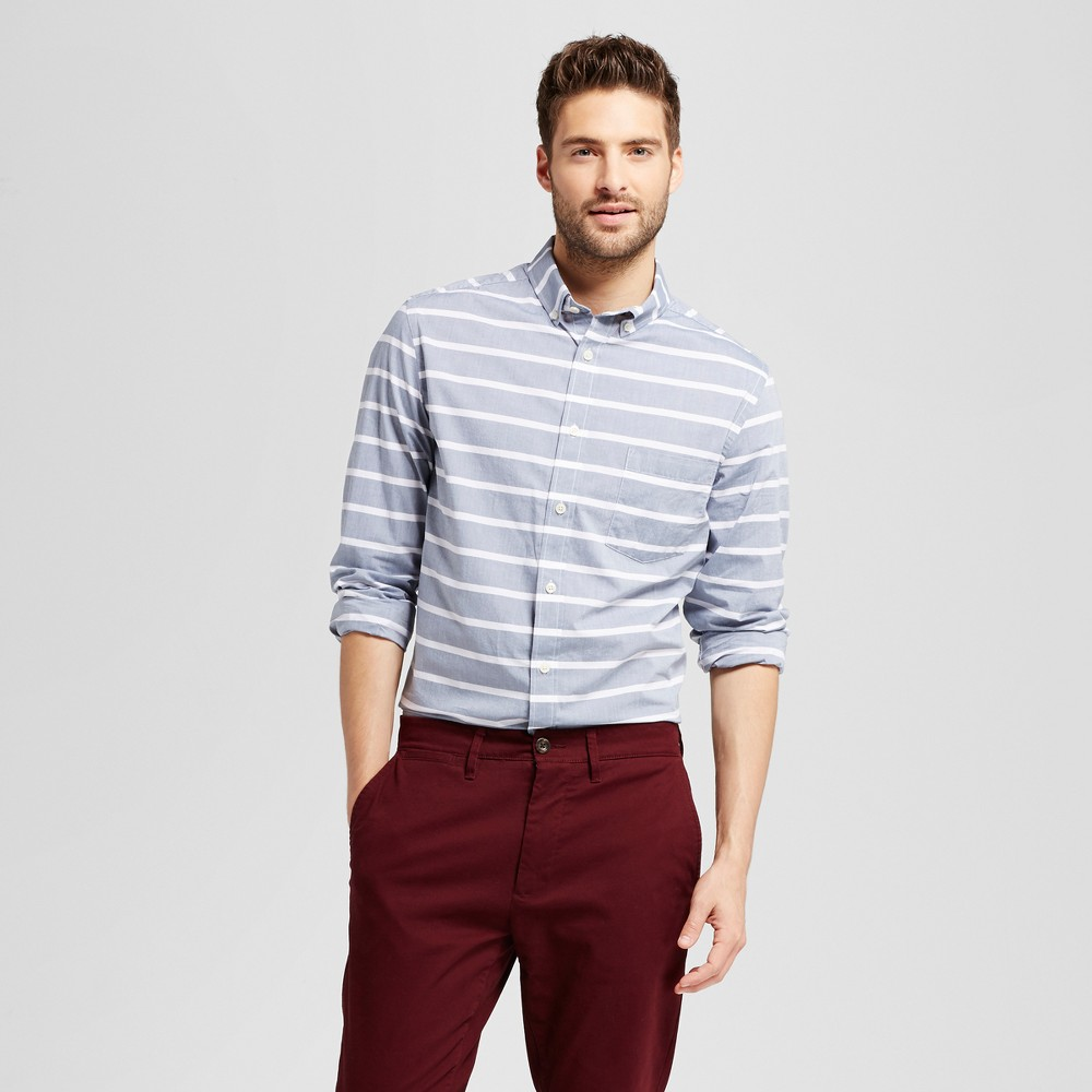 Mens Standard Fit Northrop Poplin Button Down Shirt - Goodfellow & Co Blue/White Stripe XL