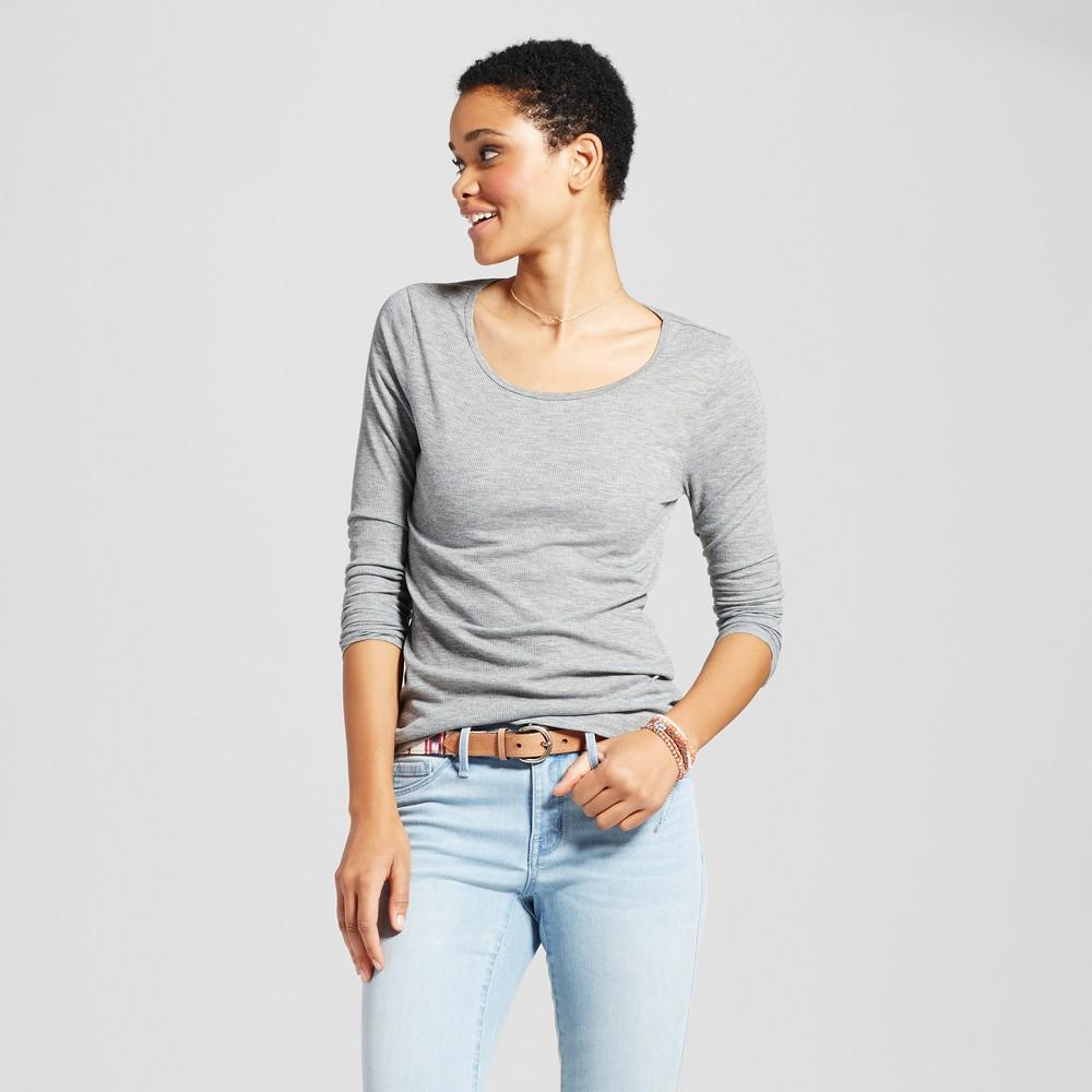 Womens Long Sleeve Rib T-Shirt - Mossimo Supply Co. Gray L