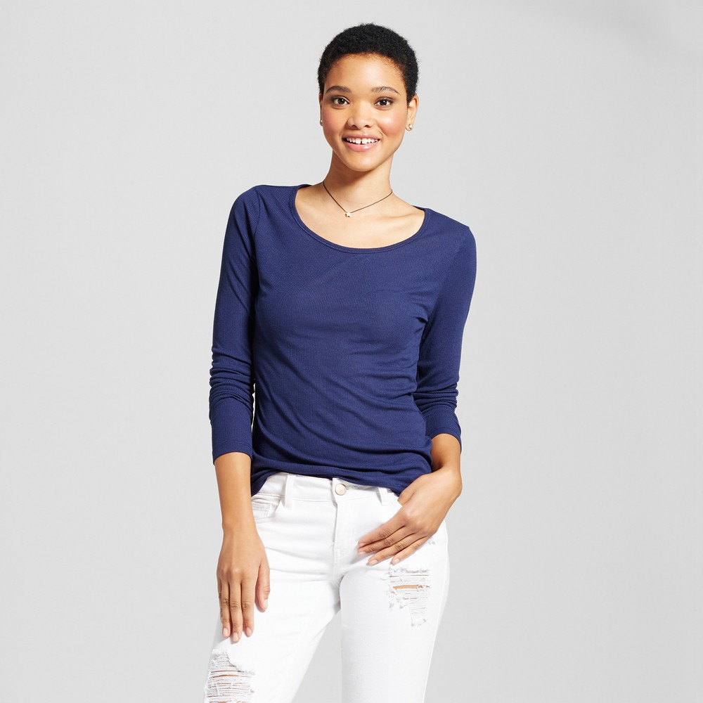 Womens Long Sleeve Rib T-Shirt - Mossimo Supply Co. Navy (Blue) M
