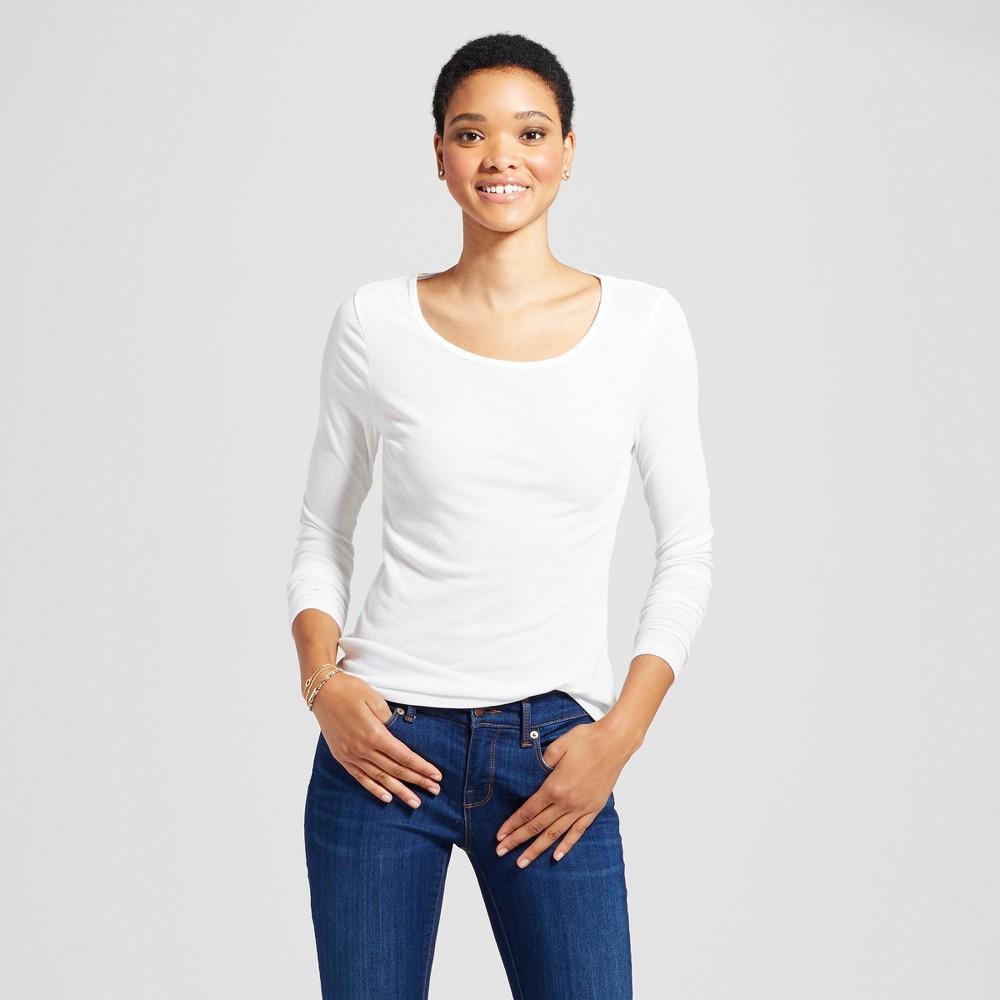 Womens Long Sleeve Rib T-Shirt - Mossimo Supply Co. White Xxl