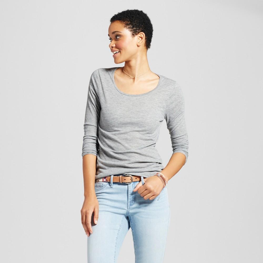 Women's Long Sleeve Rib T-Shirt - Mossimo Supply Co. Gray S