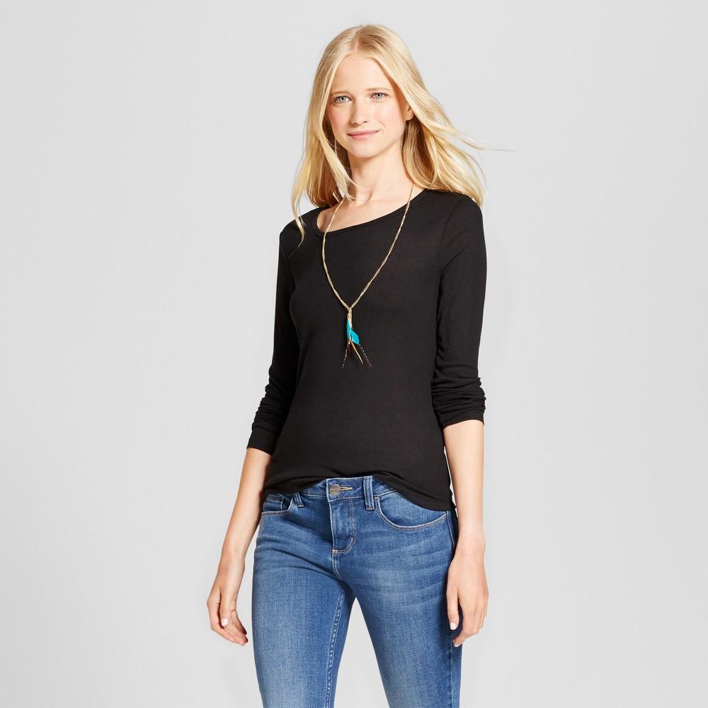 Womens Long Sleeve Rib T-Shirt - Mossimo Supply Co. Black L