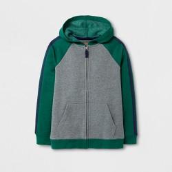 Boys' Fleece Hoodie Sweatshirt - Cat & Jack™ Green/Gray