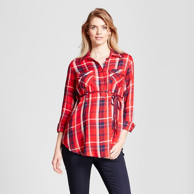 Maternity Plaid Popover Tunic - Isabel Maternity™ by Ingrid & Isabel® Fresh Cut Rose L