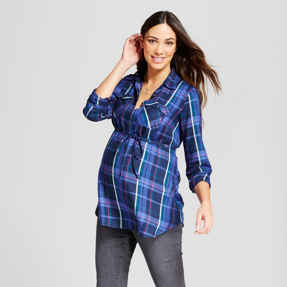 Maternity Plaid Popover Tunic - Isabel Maternity by Ingrid & Isabel Dark Shadow Blue XL, Infant Girls