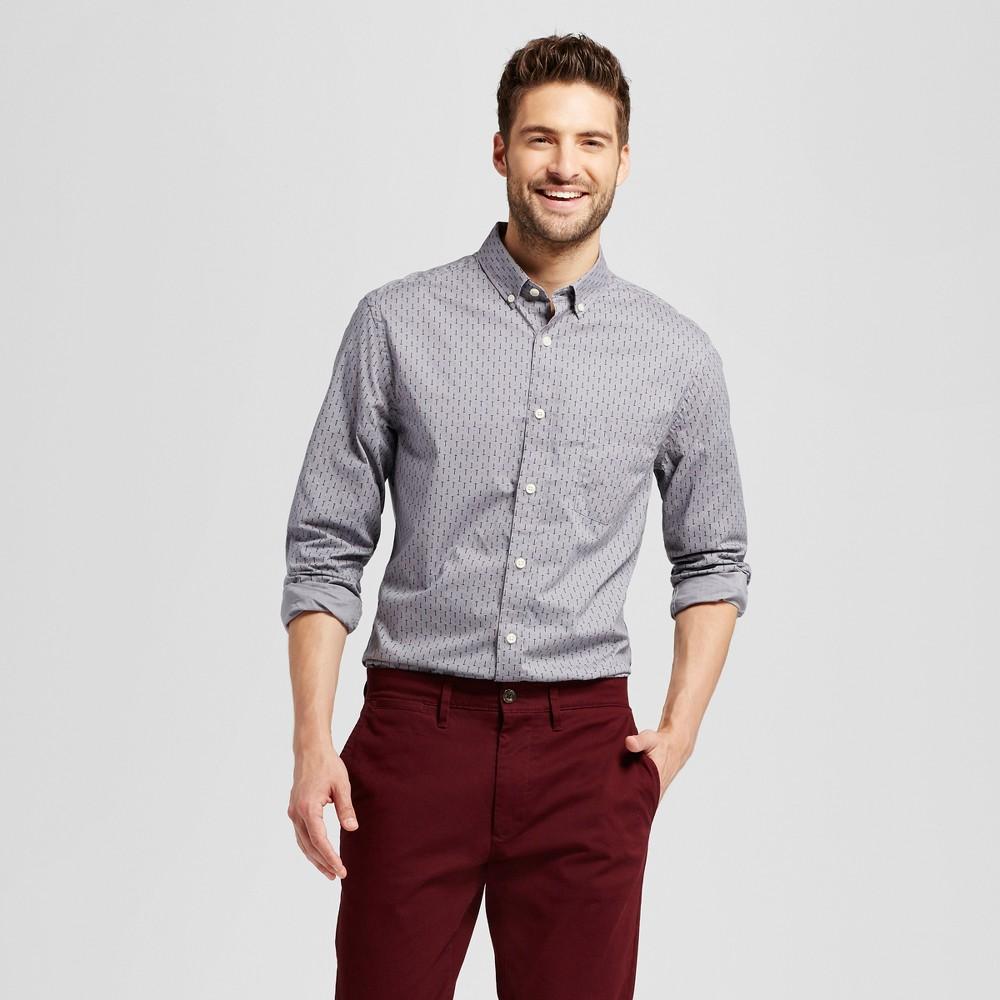 Mens Standard Fit Northrop Poplin Button Down Shirt - Goodfellow & Co Gray M