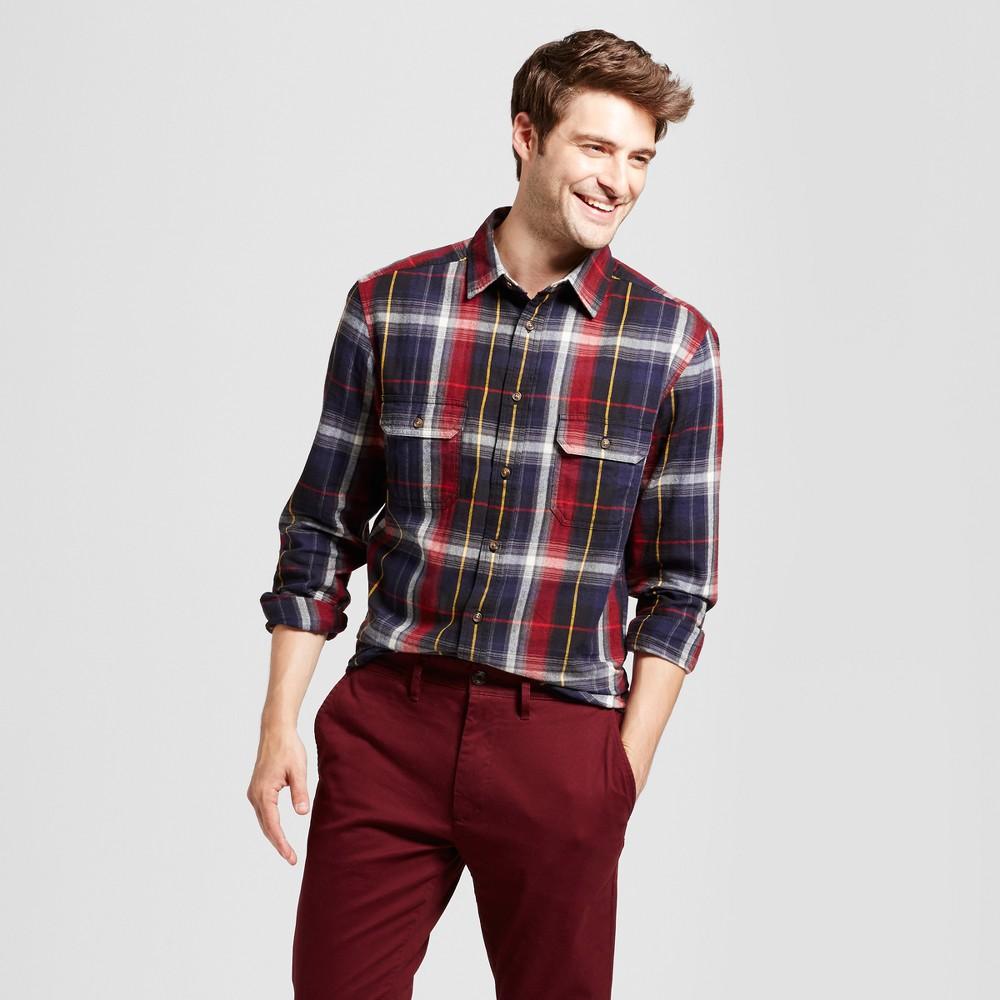 Mens Standard Fit Twill Plaid Flannel Shirt - Goodfellow & Co Navy (Blue) Xxl