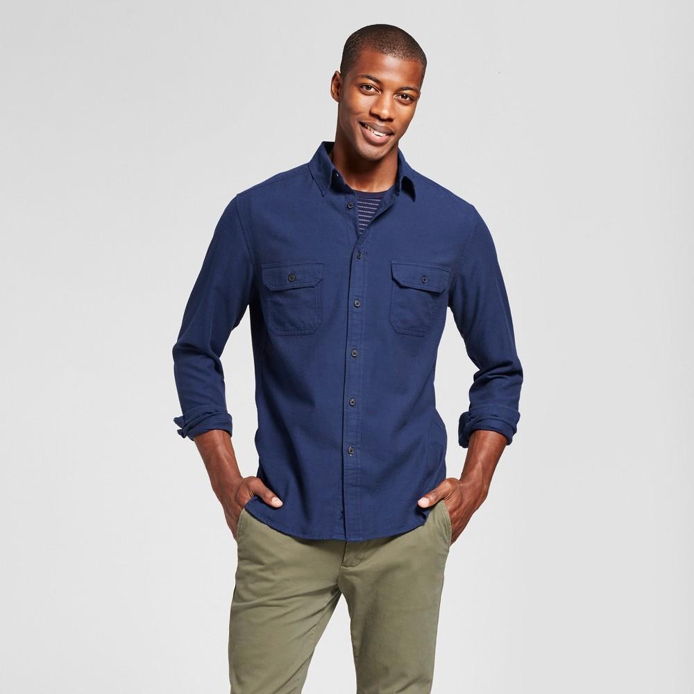 Mens Standard Fit Herringbone Flannel Shirt - Goodfellow & Co Blue L