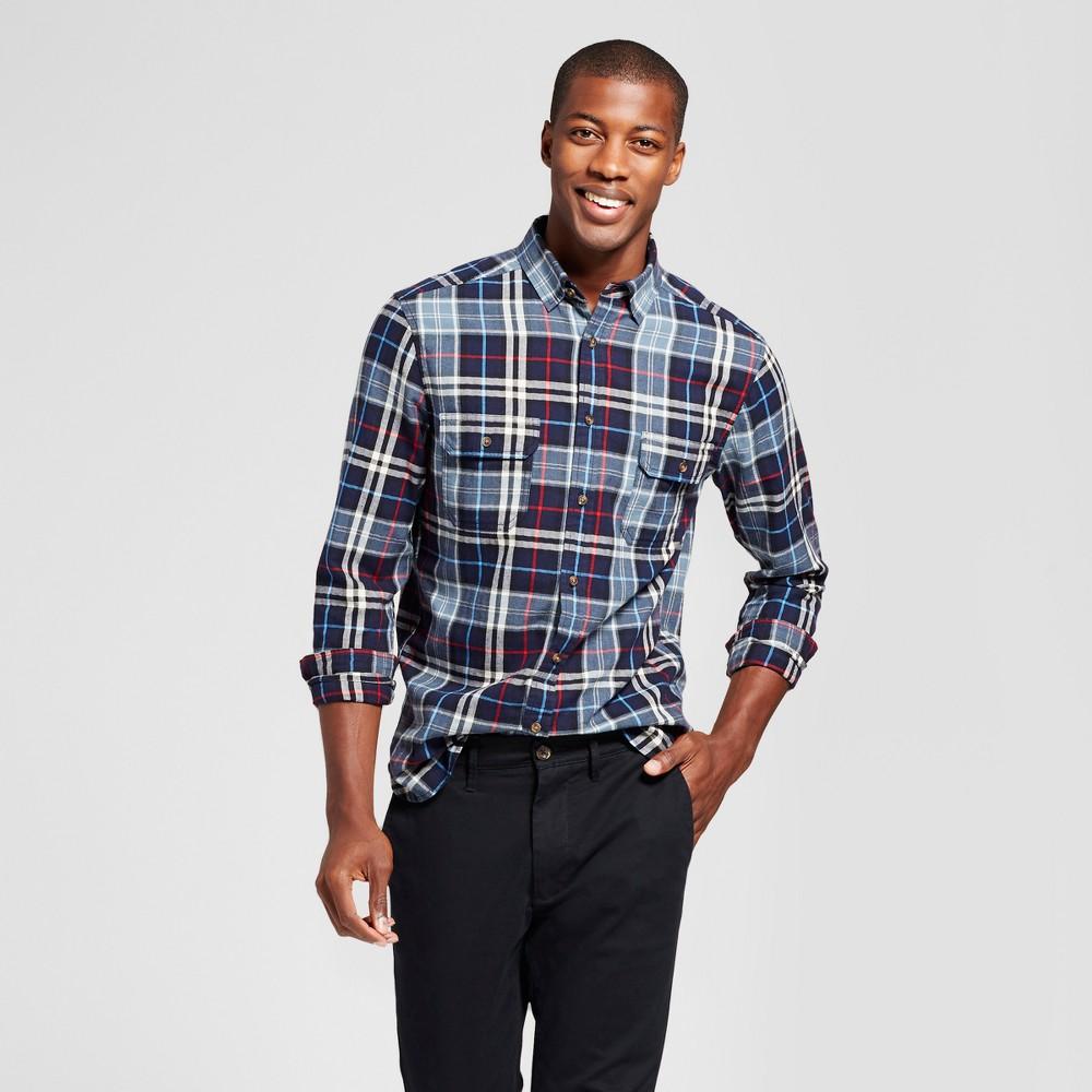 Mens Standard Fit Twill Plaid Flannel Shirt - Goodfellow & Co Dark Blue S