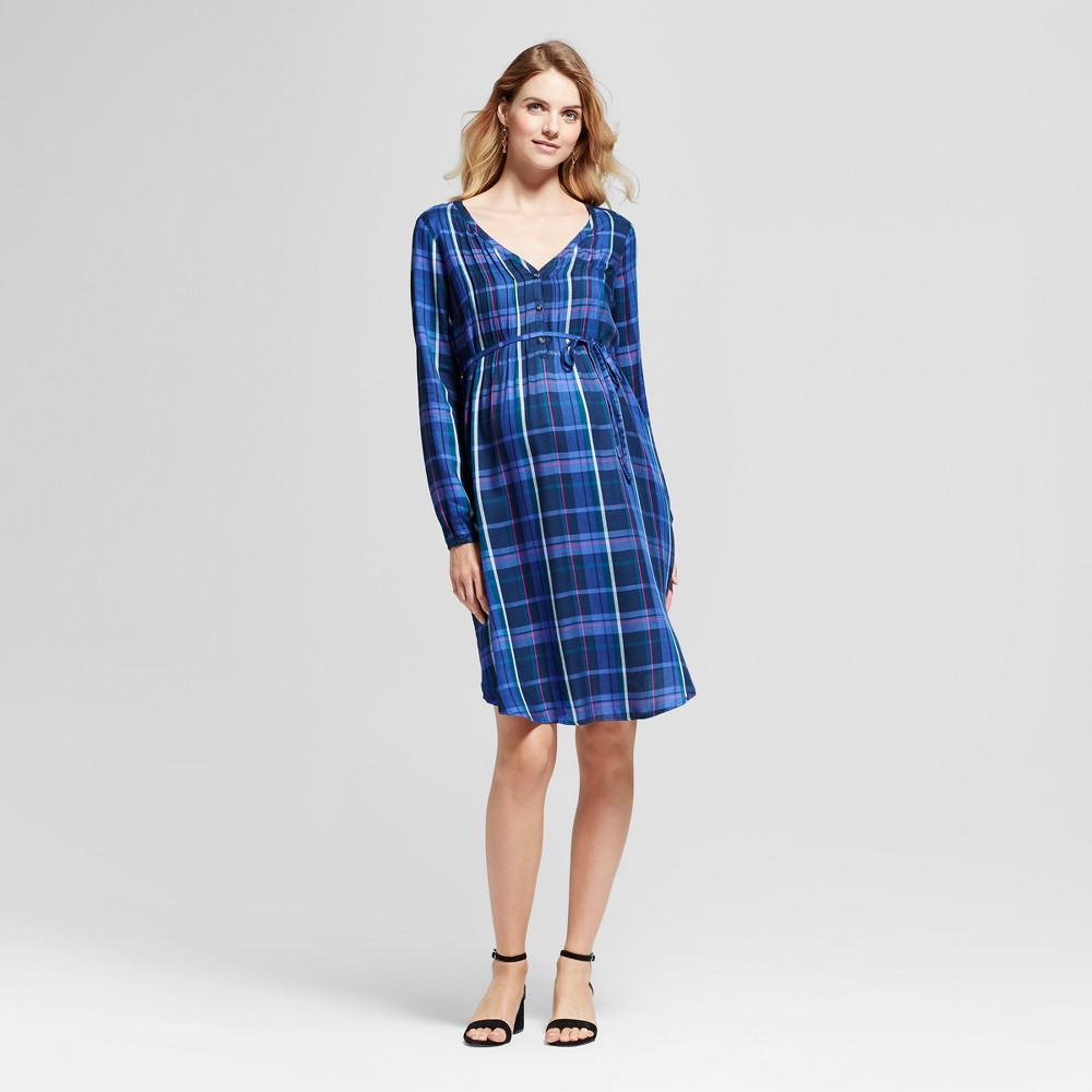 Maternity Pintuck Shirt Dress - Isabel Maternity by Ingrid & Isabel Navy (Blue) XL, Infant Girls