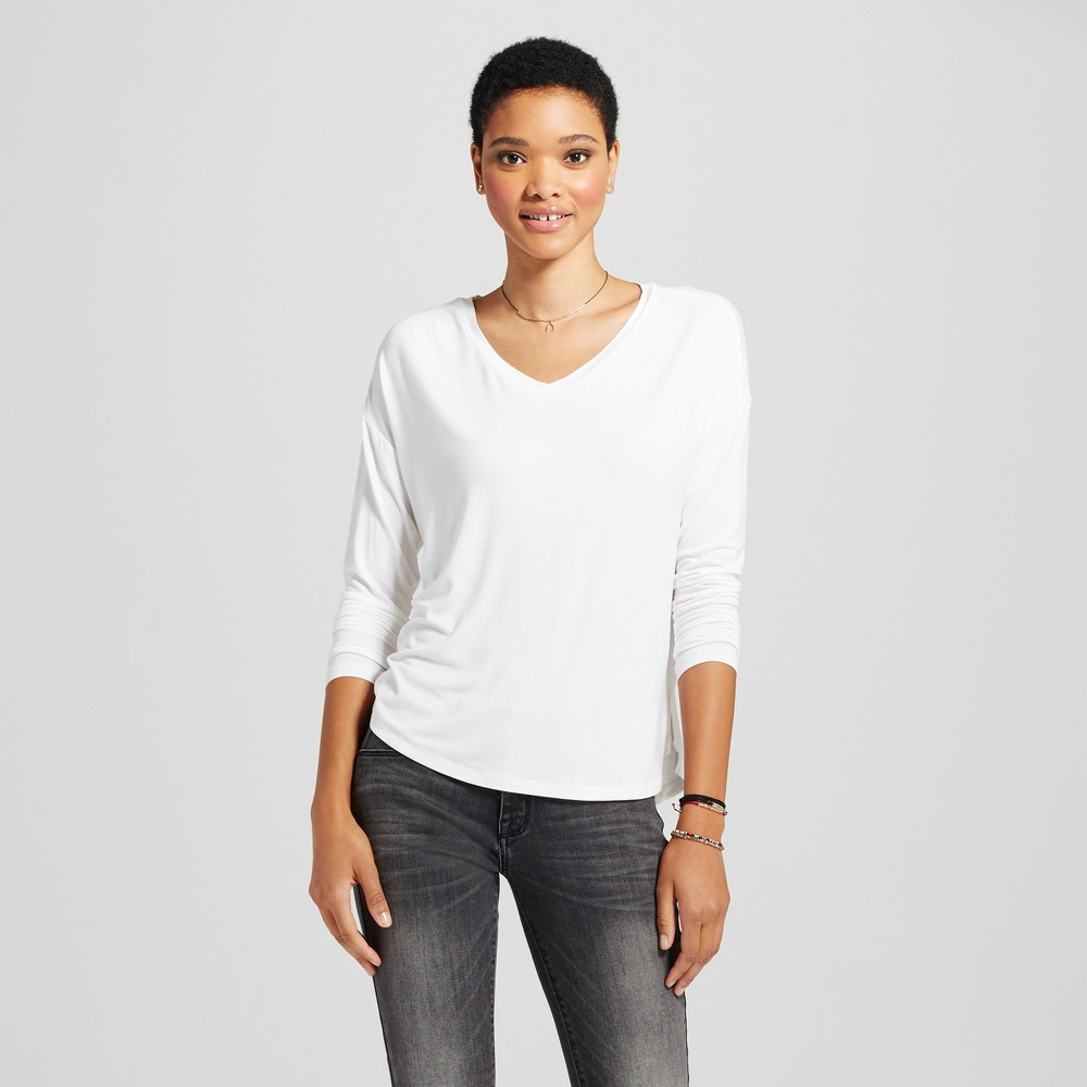 Womens Softest Long Sleeve V-Neck T-shirt - Mossimo Supply Co. White Xxl