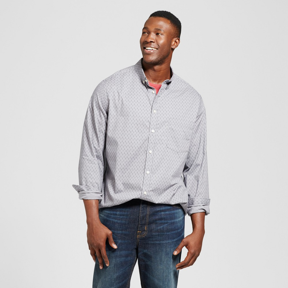 Mens Big & Tall Standard Fit Northrop Poplin Button Down Shirt - Goodfellow & Co Gray MT