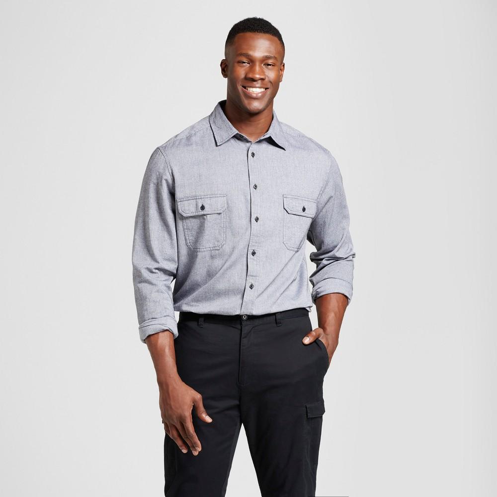Mens Big & Tall Standard Fit Herringbone Flannel Shirt - Goodfellow & Co Gray LT