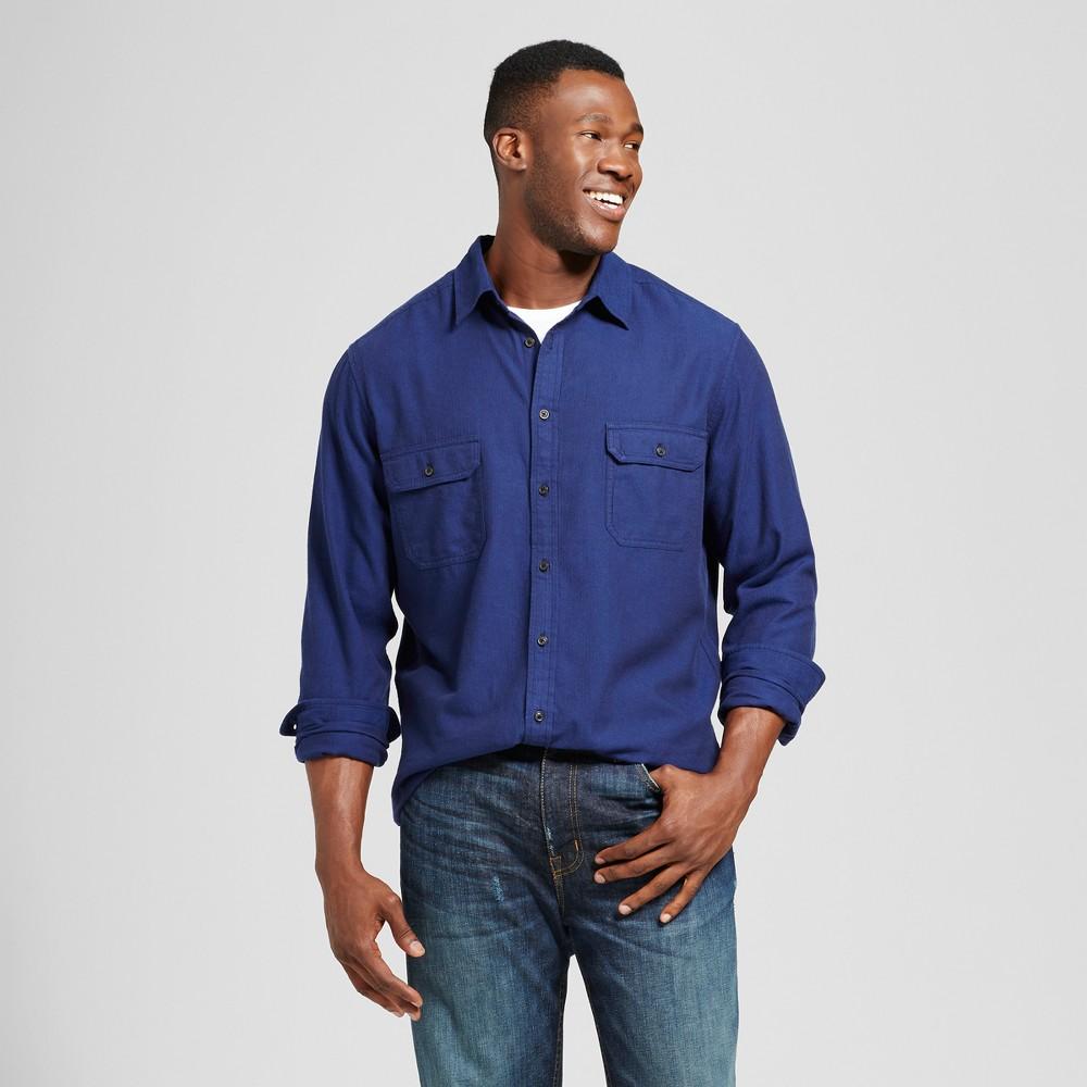 Mens Big & Tall Standard Fit Herringbone Flannel Shirt - Goodfellow & Co Blue MT