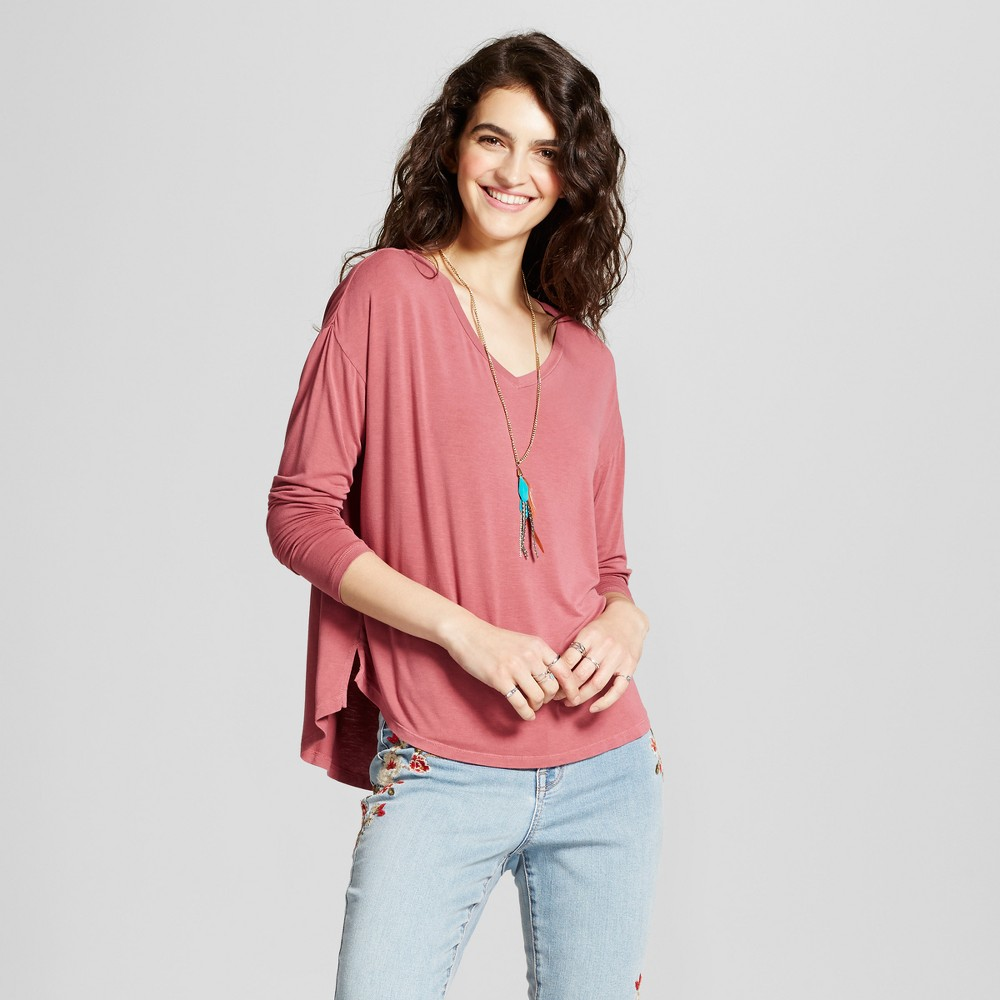 Womens Softest Long Sleeve V-Neck T-shirt - Mossimo Supply Co. Maroon (Red) Xxl