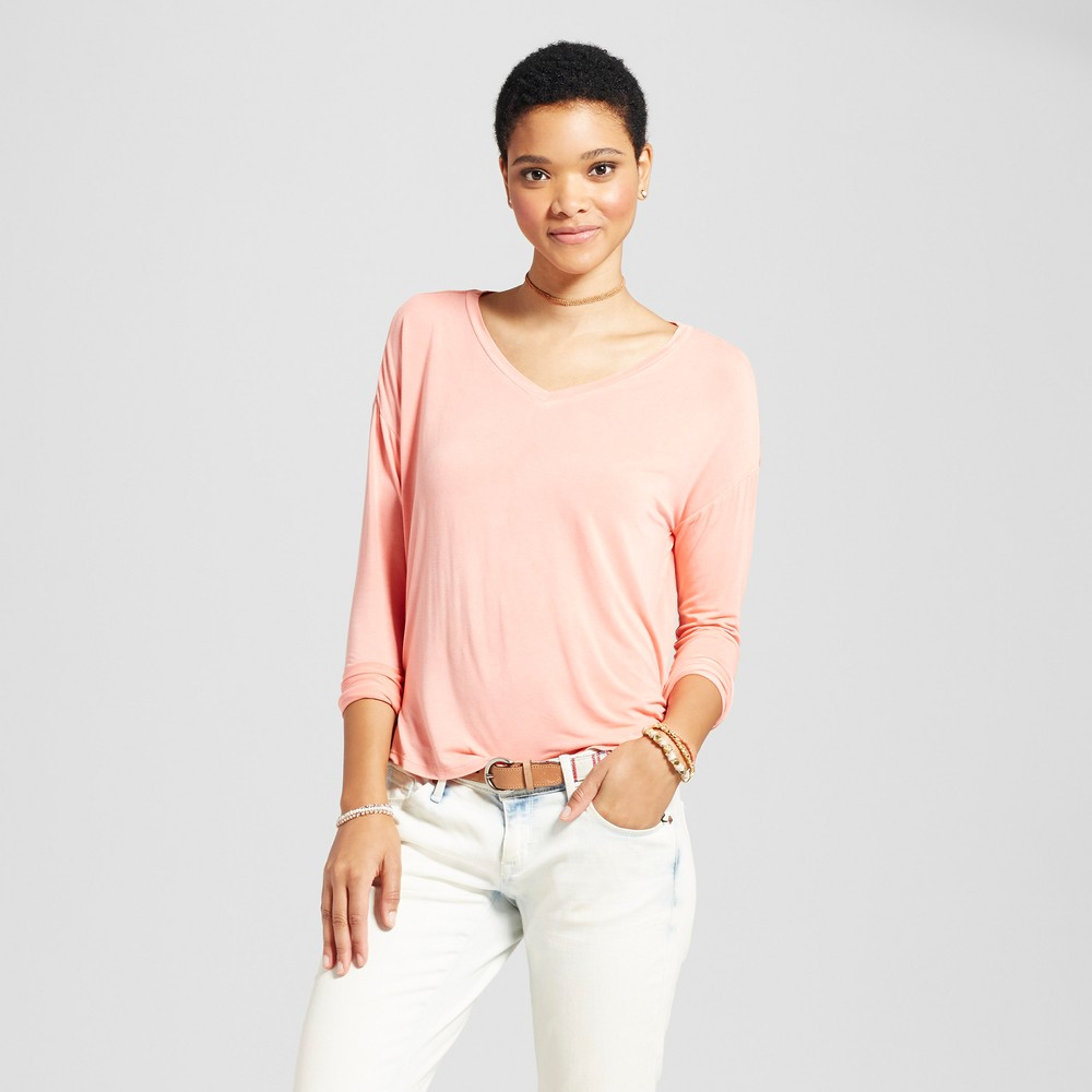 Womens Softest Long Sleeve V-Neck T-shirt - Mossimo Supply Co. Coral (Pink) Xxl