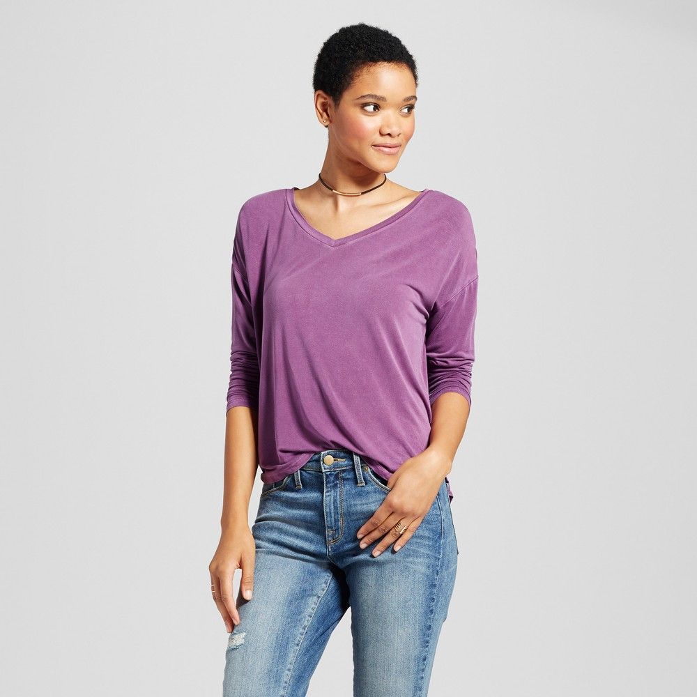 Womens Softest Long Sleeve V-Neck T-shirt - Mossimo Supply Co. Purple XS