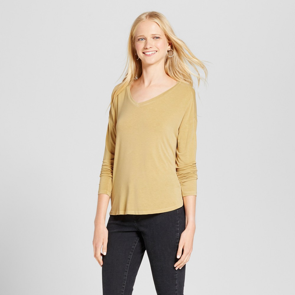 Womens Softest Long Sleeve V-Neck T-shirt - Mossimo Supply Co. Gold Xxl