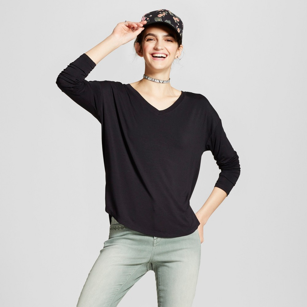 Womens Softest Long Sleeve V-Neck T-shirt - Mossimo Supply Co. Black S
