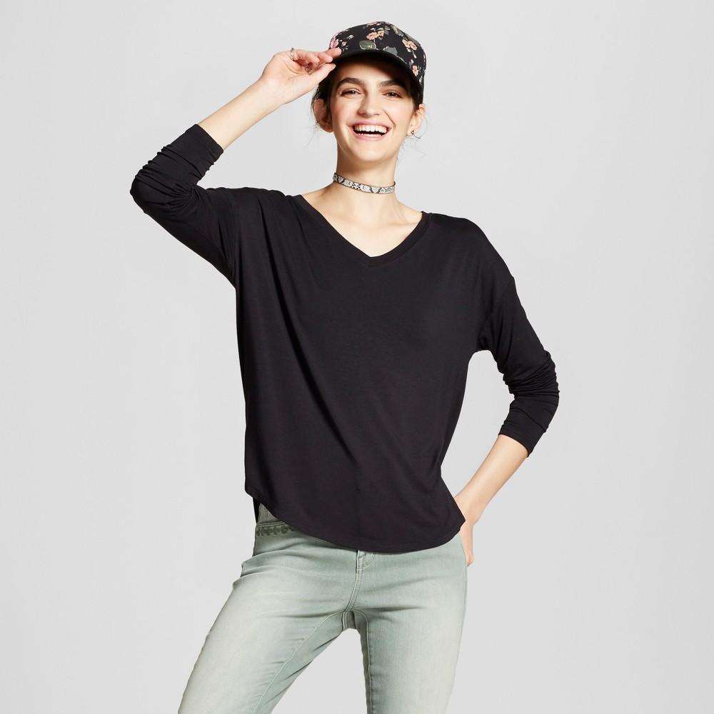 Womens Softest Long Sleeve V-Neck T-shirt - Mossimo Supply Co. Black M