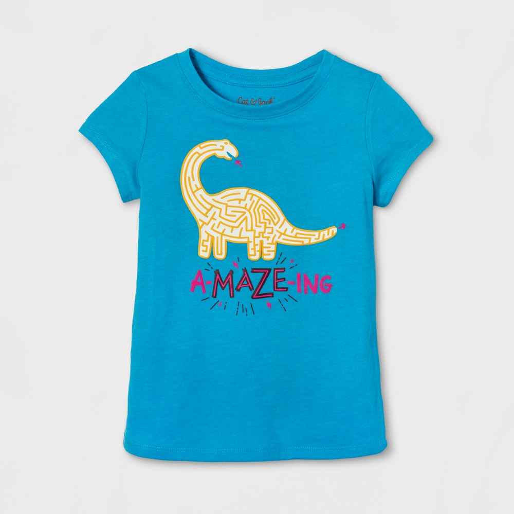 Toddler Girls Cap Sleeve Graphic T-Shirt - Cat & Jack Panama Blue 2T