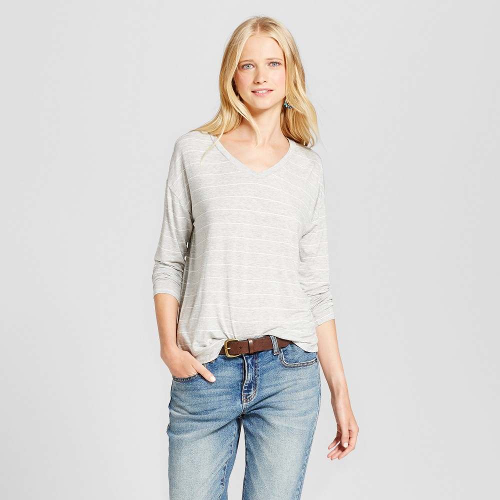 Womens Softest Long Sleeve Stripe V-Neck T-shirt - Mossimo Supply Co. Gray L, Multicolored