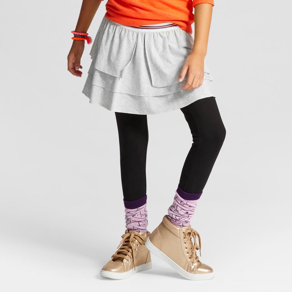 Girls Skirted Leggings with Black Leggings - Cat & Jack Heather Gray M