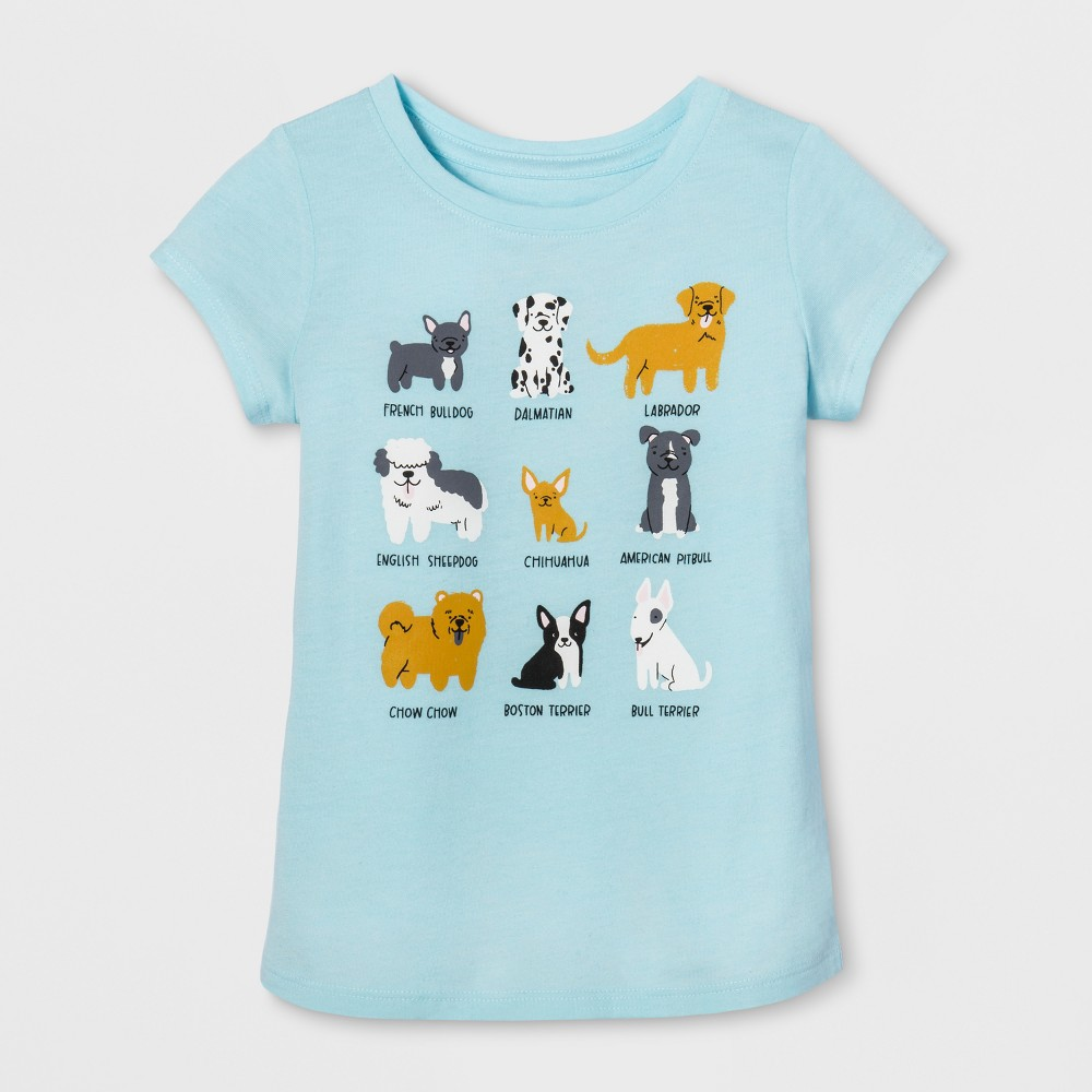 Toddler Girls Cap Sleeve Graphic T-Shirt - Cat & Jack Turquoise Glass 2T, Blue